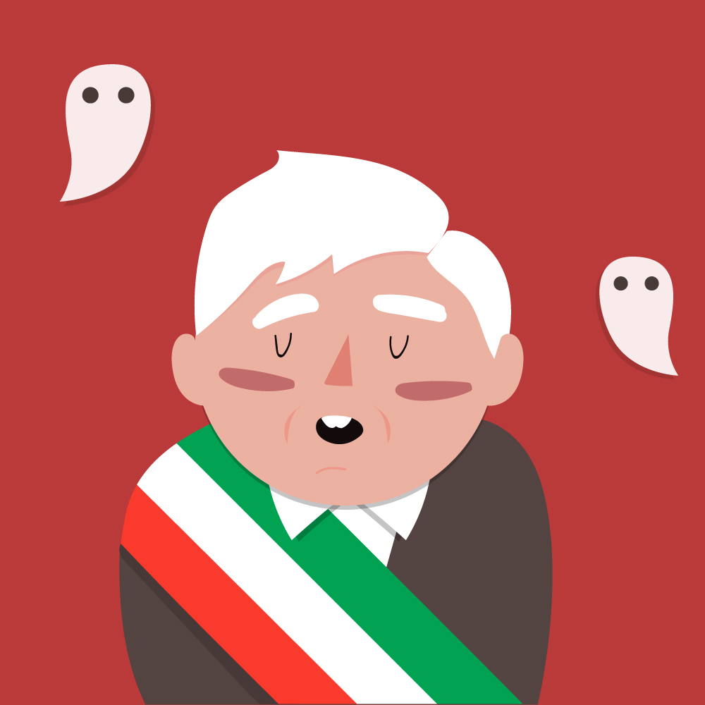 Sobre un fondo rojo, se muestra al centro una caricatura de el Presidente Andrés Manuel López Obrador, mientras que a los lados flotan 2 pequeños fantasmas.