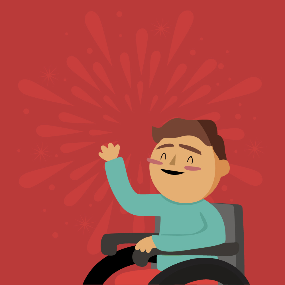Sobre un fondo rojo, se muestra a una persona usuaria de silla de ruedas alegre, mientras que detrás de el hay fuegos artificiales.