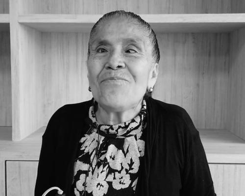Foto de Sledad guarneros, mujer de tercera edad, en blanco y negro