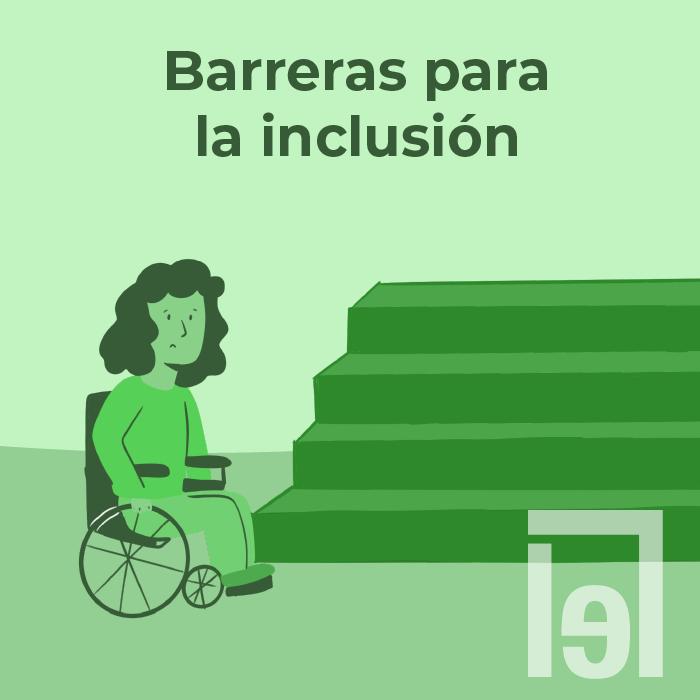 En la imagen aparece una mujer usuaria de silla de ruedas con expresión triste viendo a unas escaleras